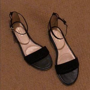 Cole Haan Signature Black Velvet and Leather Flat